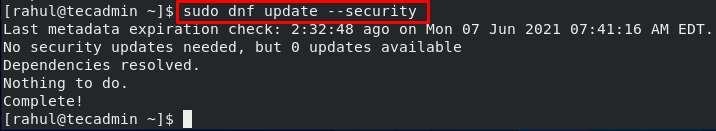 DNF Check Security Update CentOS 8