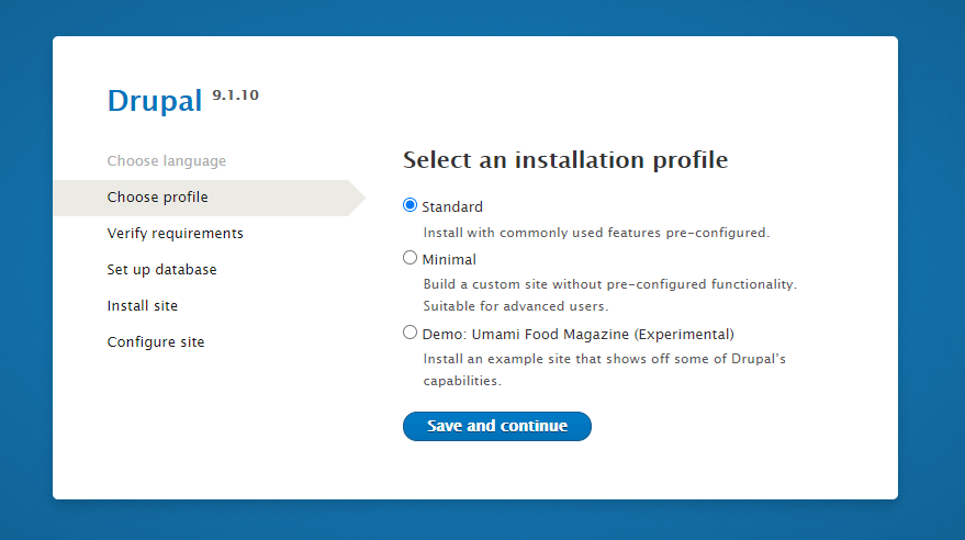 Drupal Installation Select Type