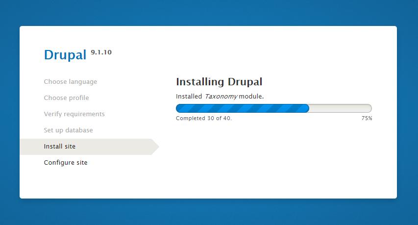 Drupal Installation Progress