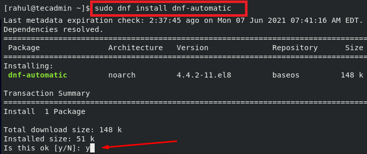 Install dnf-automatic Package on CentOS 8