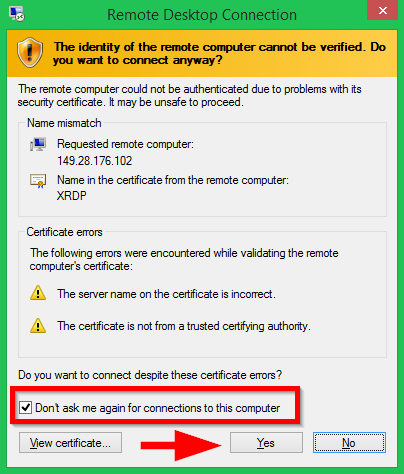 Accept Certificate Warning with Fedora Remote Desktop