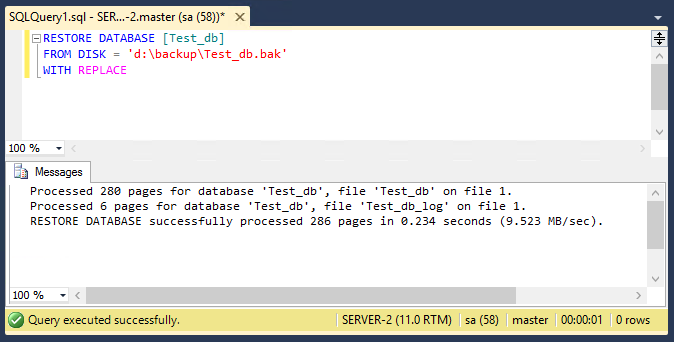 Restore Database in SQL Server with Query