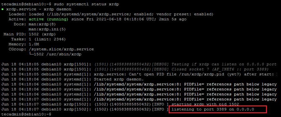 Running XRDP Server on Debian 10