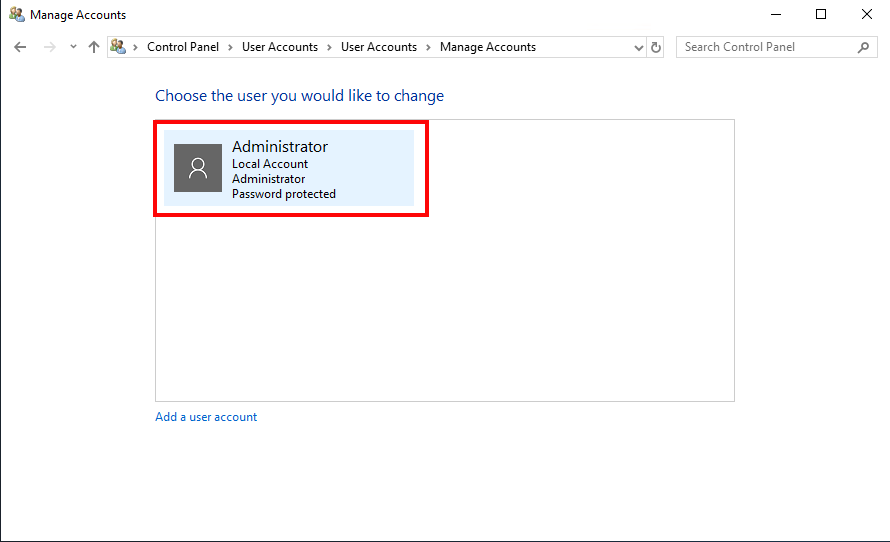 Select Account to Change password in Windows Server 2019