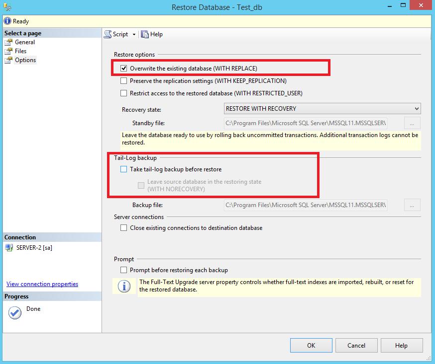 Restore Database in SQL Server with SSMS