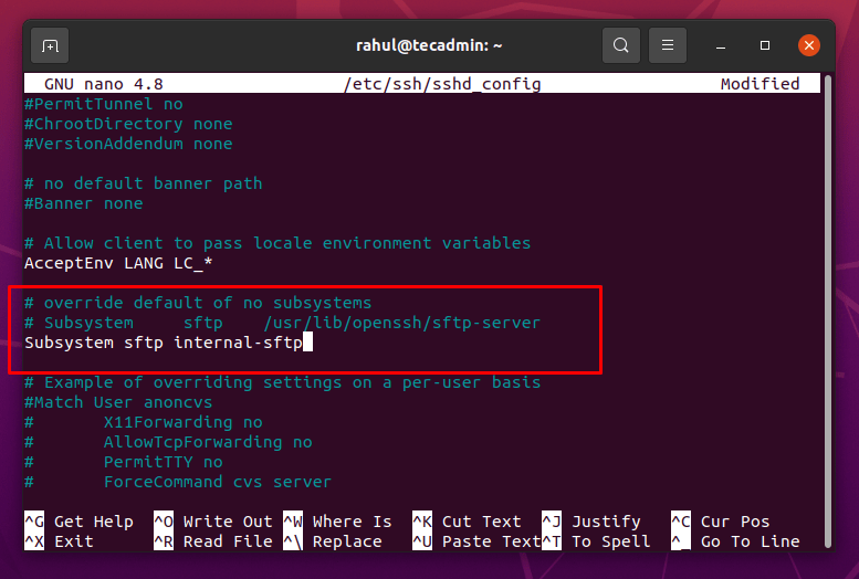 Adding Subsystem sftp internal-sftp