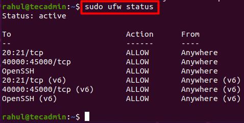 UFW Allow FTP