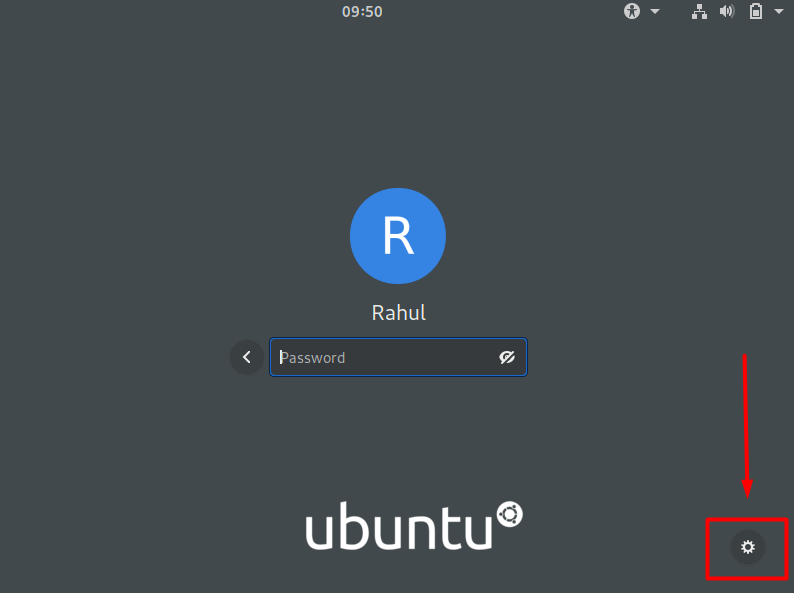 Click gear icon on Ubuntu login