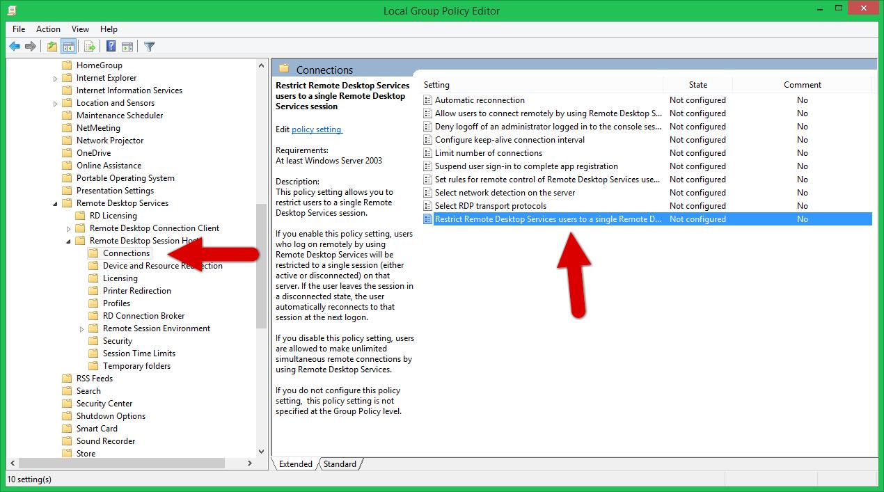 Edit disable restrict remote desktop users