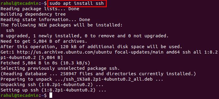 Installing SSH Server