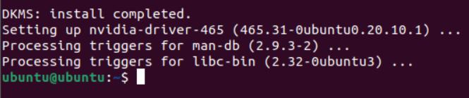 Completed Nvidia installation on Ubuntu 20.04