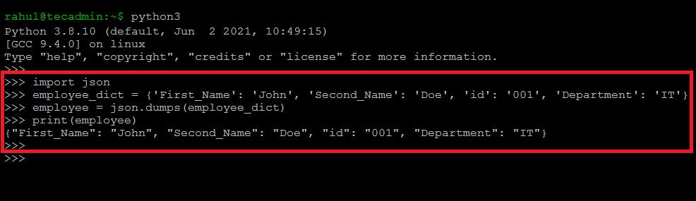 Python Convert Dictionary toJSON