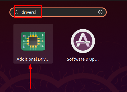 Open Additional drivers settings
