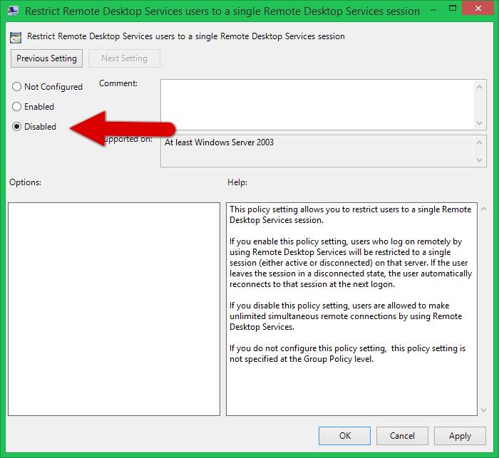 Disable restrict remote desktop users