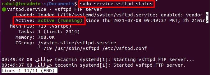 check vsftpd service status