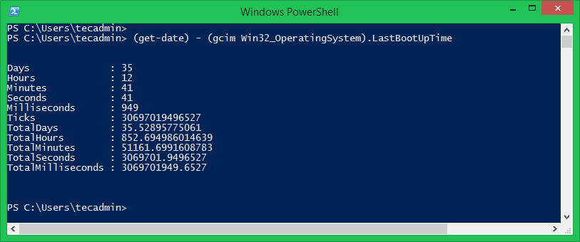 Check Windows Uptime in PowerShell