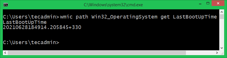 Check Computer Uptime in Command Prompt