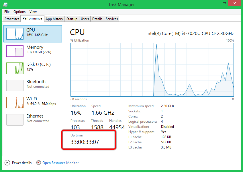 Check Computer Uptime in Task Manager