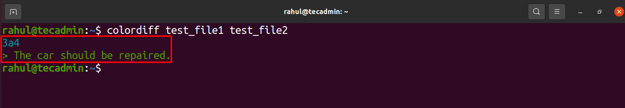 colordiff command example