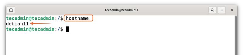 Check hostname on Debian 11