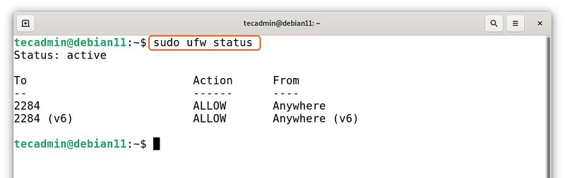 UFW status on Debian 11
