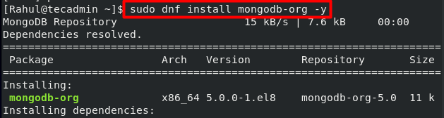 dnf install mongodb on centos8