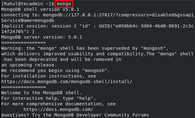 Connect Mongo Shell