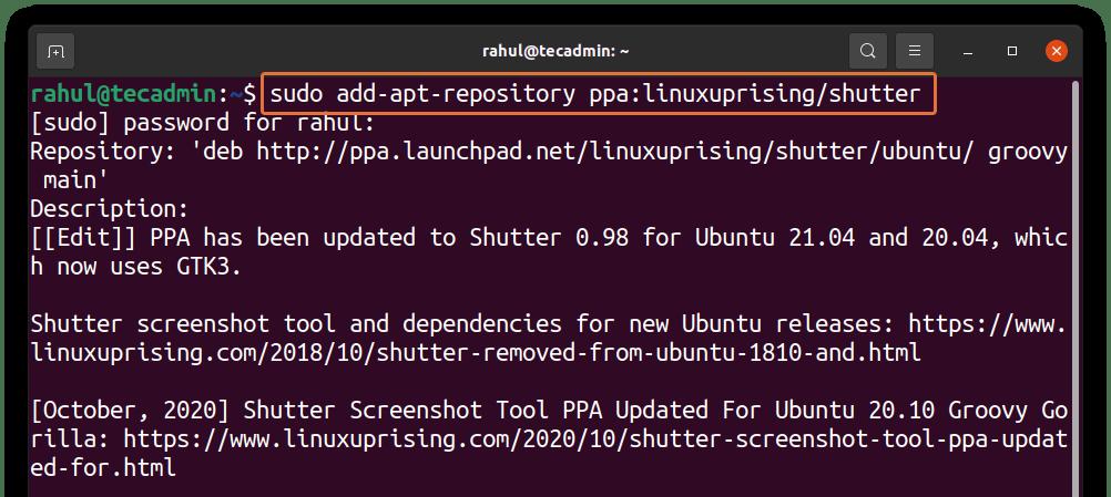 Shutter PPA Ubuntu