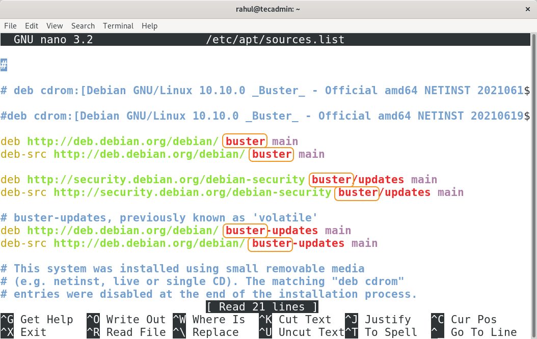 Debian 10 /etc/apt/sources.list