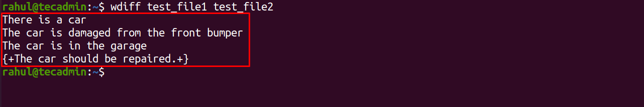 compare files with wdiff in Linux