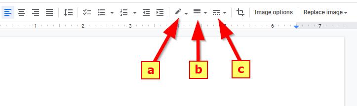 Formatting Image Border Tools in Google Docs