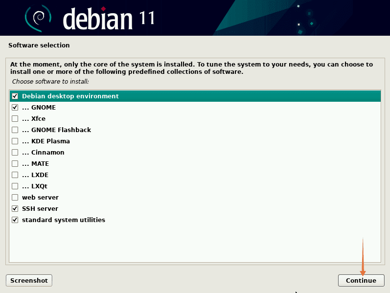 Select Desktop for Debian 11