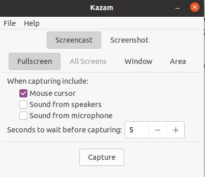Kazam Screen Recorder for Linux