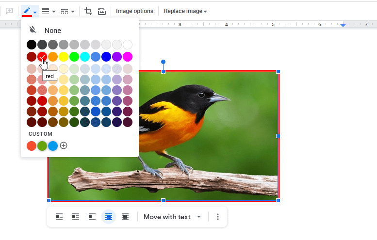 Select Border Color of Image in Google Docs