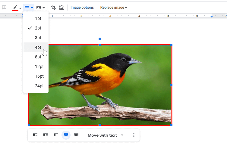 Select Border Size of Image in Google Docs