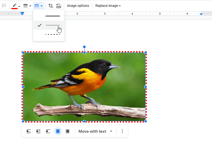 Select Border Style of Image in Google Docs