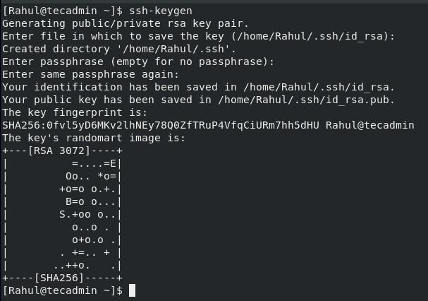 Successfully Created SSH Keys