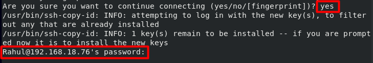 Input password for ssh_copy_id