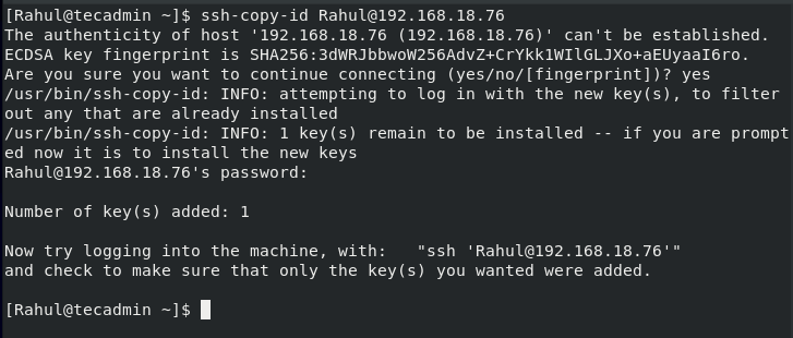 Successfuly copied public key to remote host