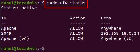 Check ufw firewall status